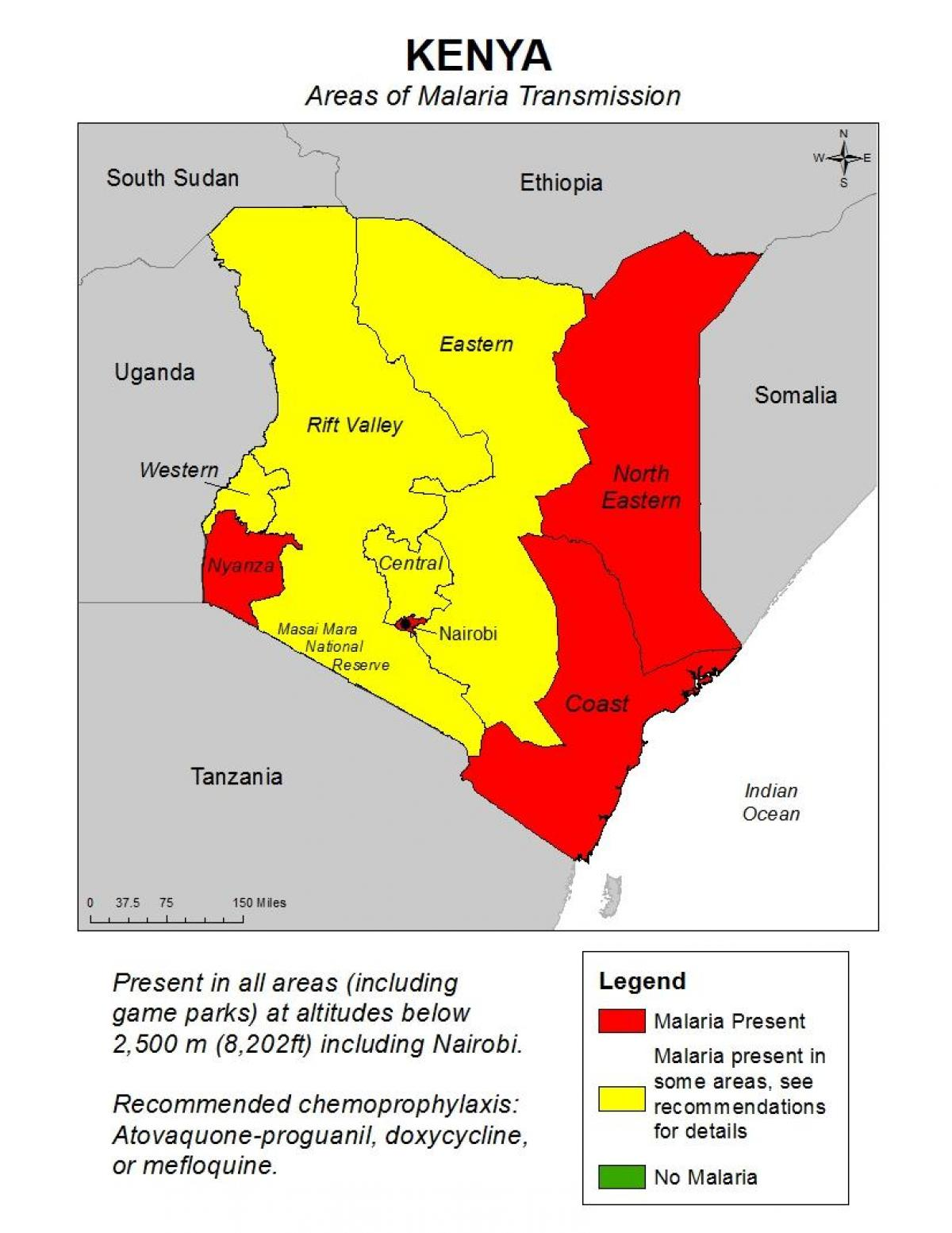 Kenia Malaria Kartta Kartta Kenian Malaria Ita Afrikka Ja
