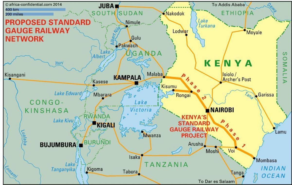 Vakioraideleveyden Rautatie Kenian Kartta Kenia